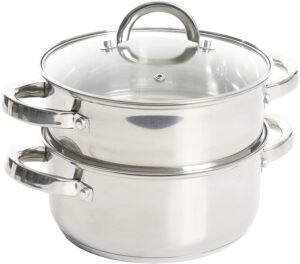 Oster Sangerfield Steamer Set with Lid for Stovetop Use, Stainless Steel